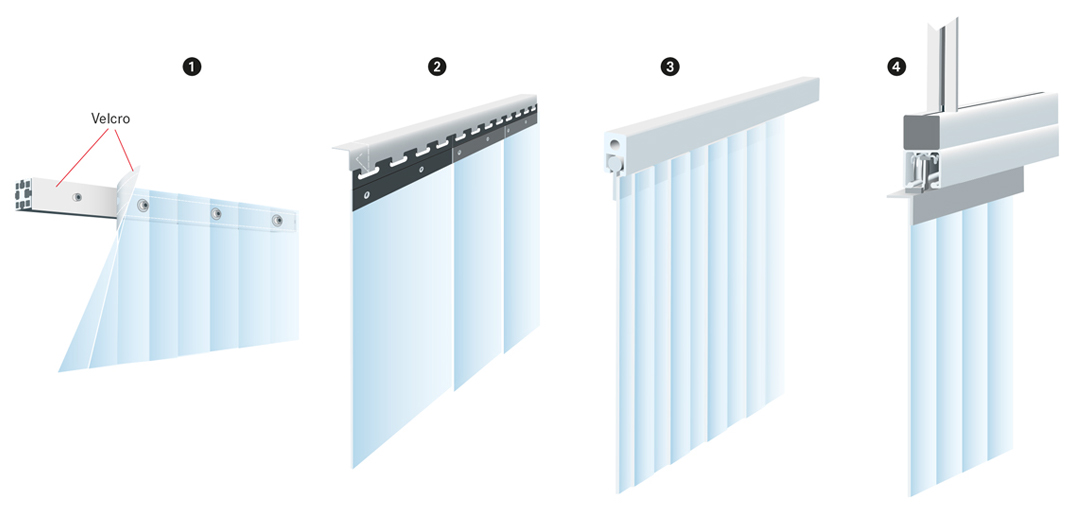 Clean room strip curtain with different hanger systems