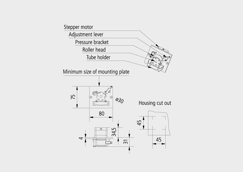 Technical Drawing Low cost mini peristaltic pump