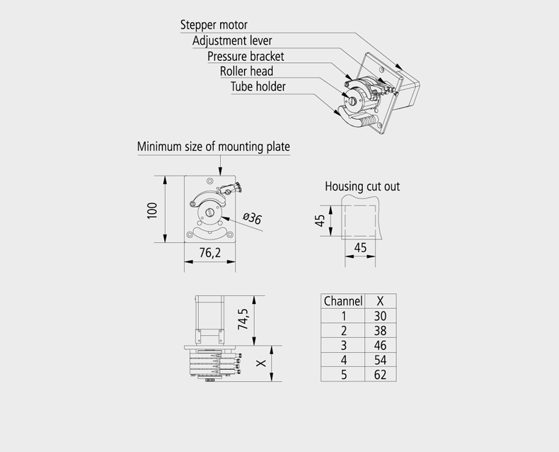 Technical Drawing Precision Compact peristaltic pump