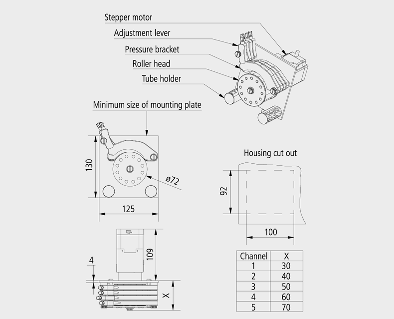 Technical Drawing Precision Standard peristaltic pump