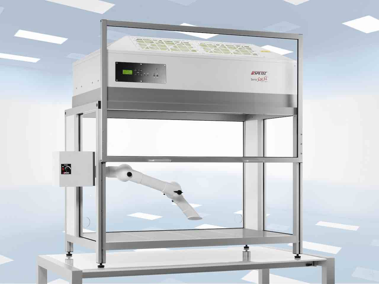 Laminar Flow Box with an additional acid-resistant extraction system for gases and vapours