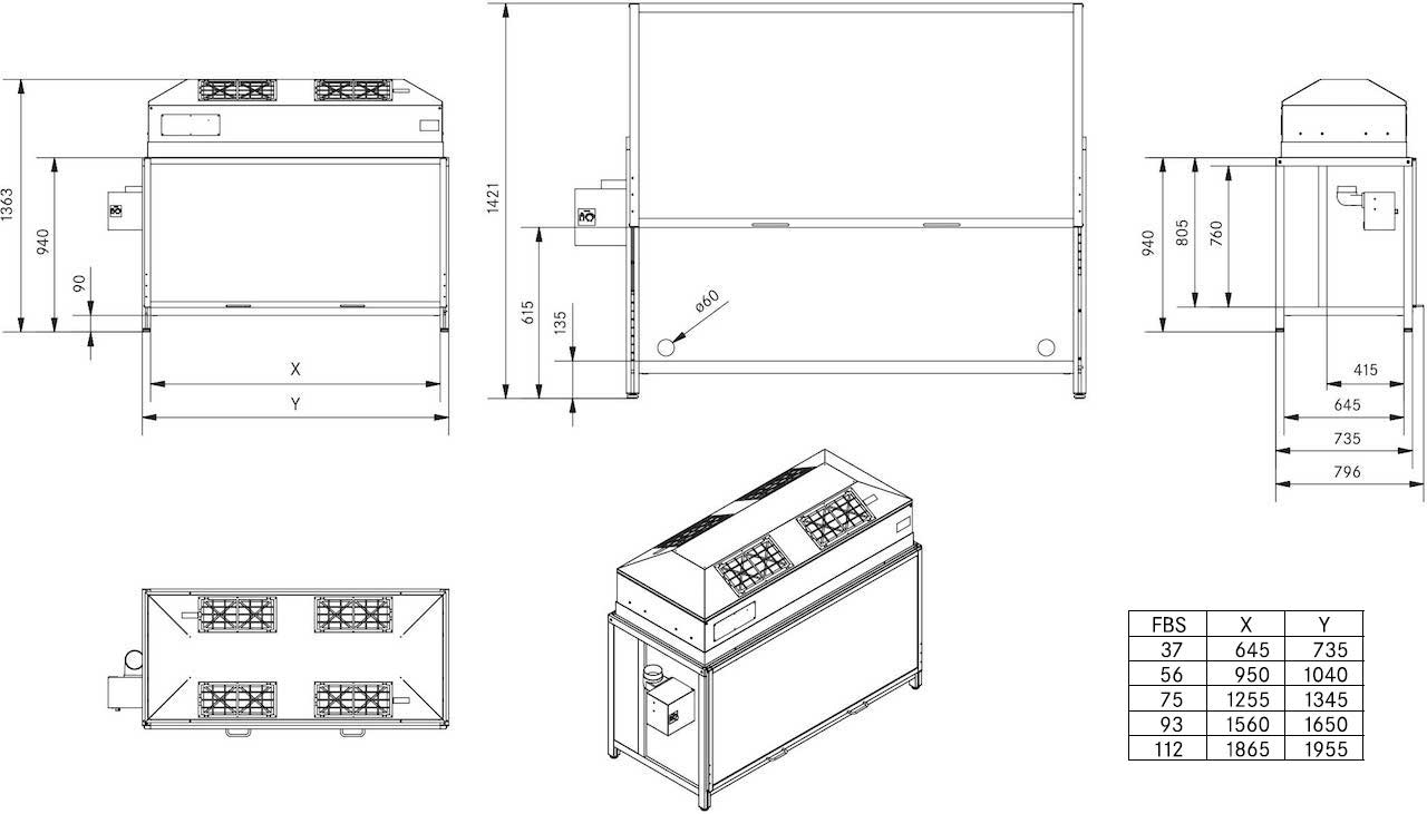 Drawing and technical information about laminar Flow box FBS Serie as a clean room workplace
