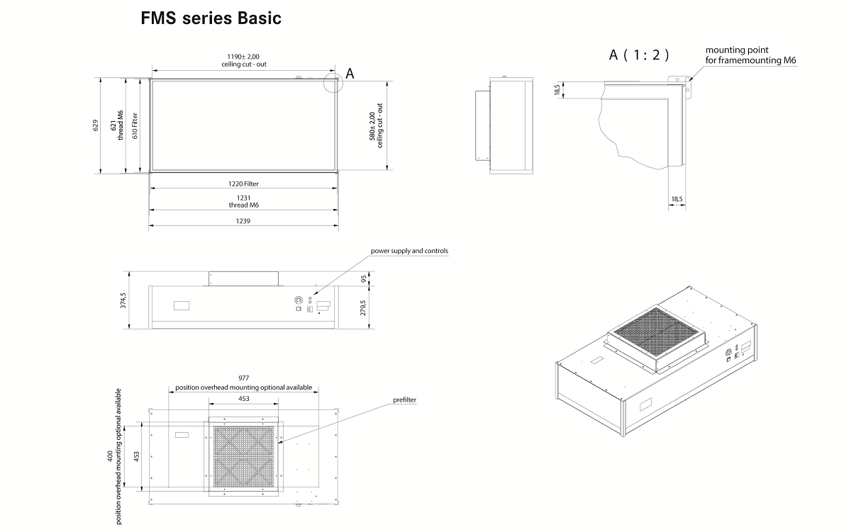 Drawing and technical information about Laminar Flow Modul Basic Series