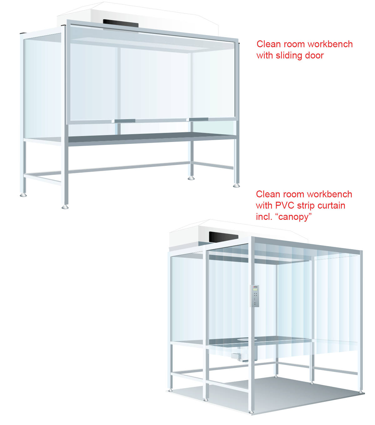 Clean room workbench with sliding door or strip curtain as canopy