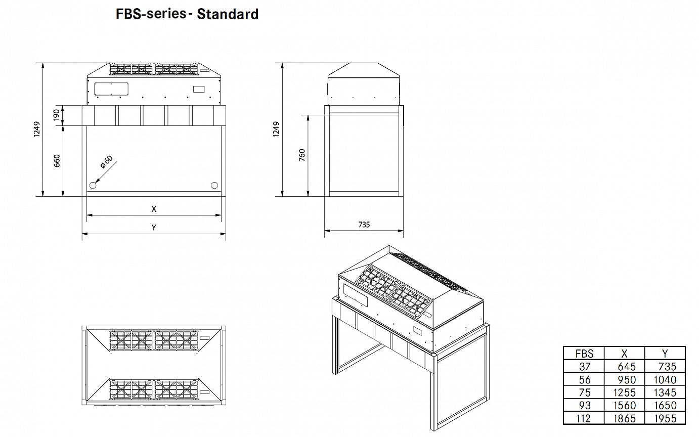Drawing and technical information about Laminar Flow Box FBS Serie–Standard